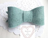 Pale Blue Felt Bow Hair Clip Hand Cut and Hand Sewn Pretty Hair Accessory for Spring - RESERVED FOR SARAH