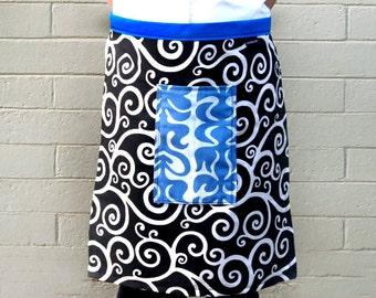 Half apron ,Black and White Swirls, large cornflower blue pocket, woman's or men's