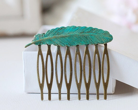Feather Hair Comb Verdigris Patina Brass Blue Feather Hair Comb Woodland Wedding Bridal Hair Comb Bohemian Boho Chic Christmas Gift for Her