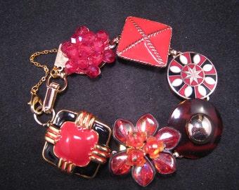 Vintage Earring Bracelet, Charm Bracelet, Bridesmaid Gift, Reclaimed, Upcycled, Cluster Earring, Under 40 - Code Red