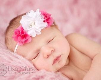 Baby headband, newborn headband, adult headband, child headband and photography prop The triple sprinkled dainty flowers headband