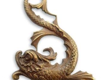 Natural Brass Marine Dolphin/Serpent Pendant,  Qty:  1