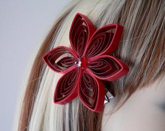 Red Flower Hair Clip, Red Hair Accessory, Handmade