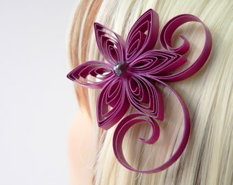 Cassis Wedding Hair Clip, Berry Wedding Hair Accessory, Cassis Bridal Hair Accessory