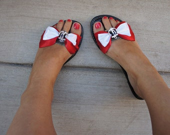 Olivia Paige -Anchor satin   Bows  shoe Clips   Pin up