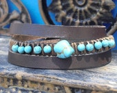 Turquoise gem beads brown leather triple wrap bracelet