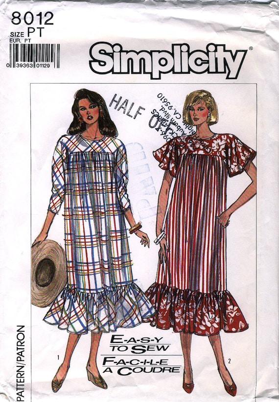 Simplicity 8012 Vintage 80s Misses' Muumuu Style Loose-Fitting Dress Sewing Pattern - Uncut - Size Petite 6-8