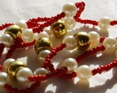 JEWELLERY SALE - Red and Gold Pearls Necklace - Fire Flower Necklace