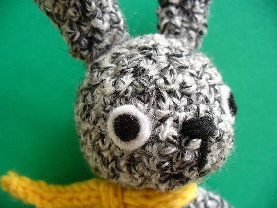 Speckled the crochet bunny with carrot