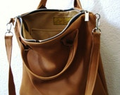 Salted Caramel Leather Urban Tote Bag - Laurel Dasso