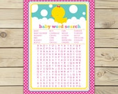 Girl Rubber Ducky Baby Shower Word Search Game - Instant Download - Rubber Duck Baby Shower Word Search Game - Pink and Yellow Party Game