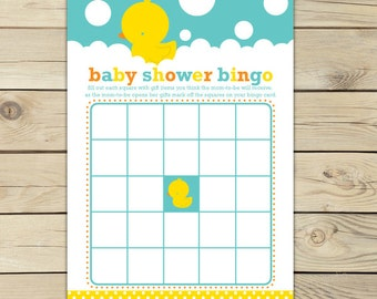 Rubber Ducky Baby Shower Baby Bingo Card Printable - Neutral Baby Shower Games - Instant Download - Aqua Blue Yellow Duck Baby Shower