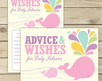 Whale Baby Shower Wishes for Baby Girl Printable - Pink Baby Shower Activities - Girl Baby Shower Well Wishes For Baby - Advice Cards