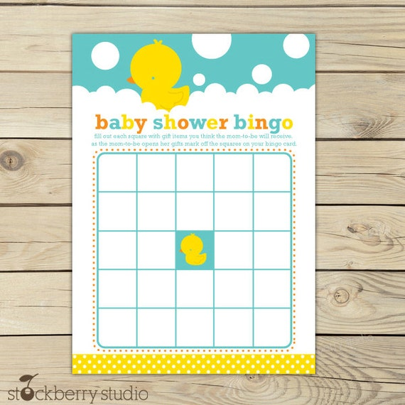 ducky baby shower baby bingo card printable neutral baby shower