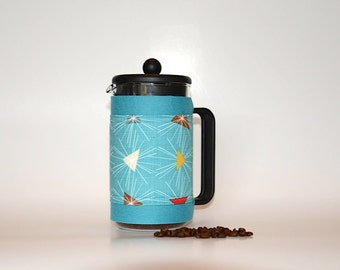 "French Press ""Bean Belt"" Coffee Cozy - ""Mod Century"" Turquoise, Bodum Cozy, Cafetiere Cozy, Chambord Cosy"