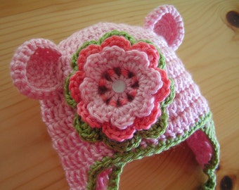 Baby hat for 12 months up to 3T infant bear hat - Abbey with flower