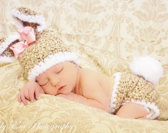 Newborn Bunny Hat and Diaper Cover