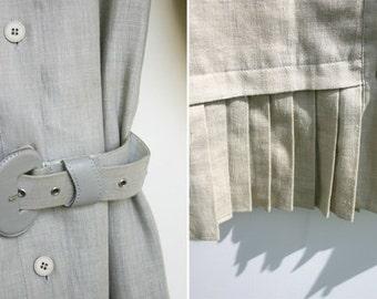 Safari Style Dress 80s Linen Mix