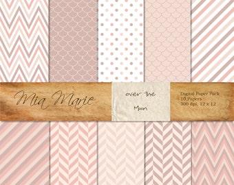 INSTANT DOWNLOAD - Digital Papers Scrapbooking Backgrounds Pink, Purple, Chevron, Polka Dots, Herringbone, Modern, Baby Printable 12x12 jpg
