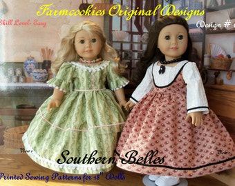 """PRINTED Sewing  PATTERN for American Girl Marie Grace or Cecile- Southern Belles/ Sewing Pattern for 18"""" Dolls"""