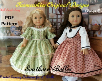 "PDF Sewing Pattern for American Girl Marie Grace or Cecile- Southern Belles/ Sewing Pattern for 18"" Dolls"