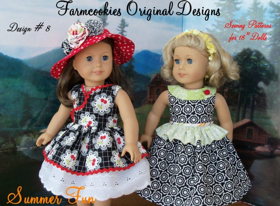 "PRINTED Sewing Pattern for American Girl Dolls:  Summer Fun / Sewing Pattern for 18"" Dolls"