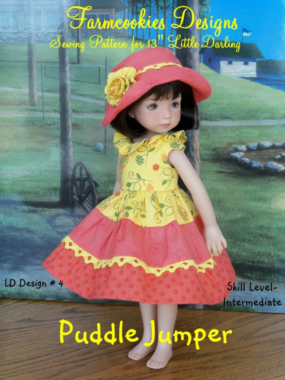 "Printed Sewing Pattern / Puddle Jumper / Sewing Pattern for  Dianna Effner's 13"" Little Darling Dolls"