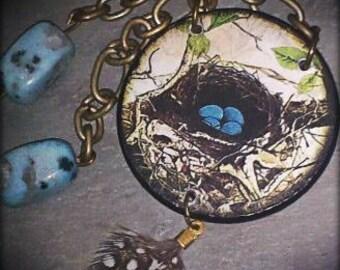 Vintage Poker Chip Necklace- Robins Nest