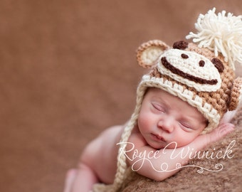 PDF Instant Download Crochet PATTERN No 217 Little Monkey Hat Chunky yarn photo prop sizes preemie, newborn. 0-3, 3-6 months