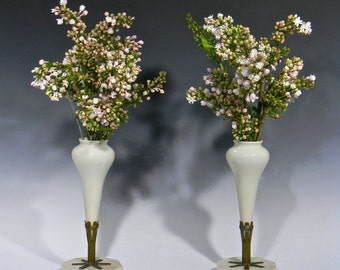 Gorgeous Pair of Pale Pink Opaque Glass MANTEL FLOWER VASES, circa 1920's - 1930's