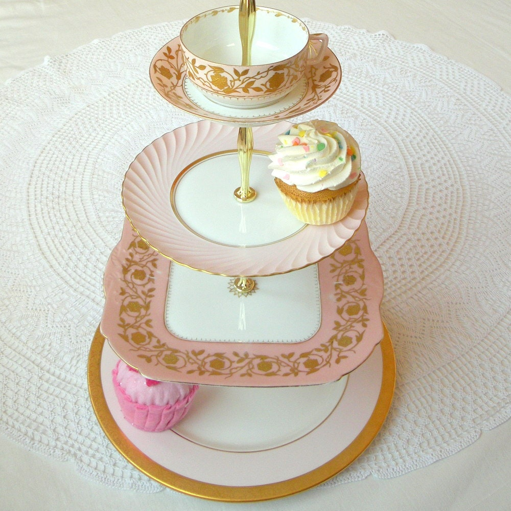 Alice Amp The Gold Key Large 4 Tier Cupcake Stand Pastel Pale