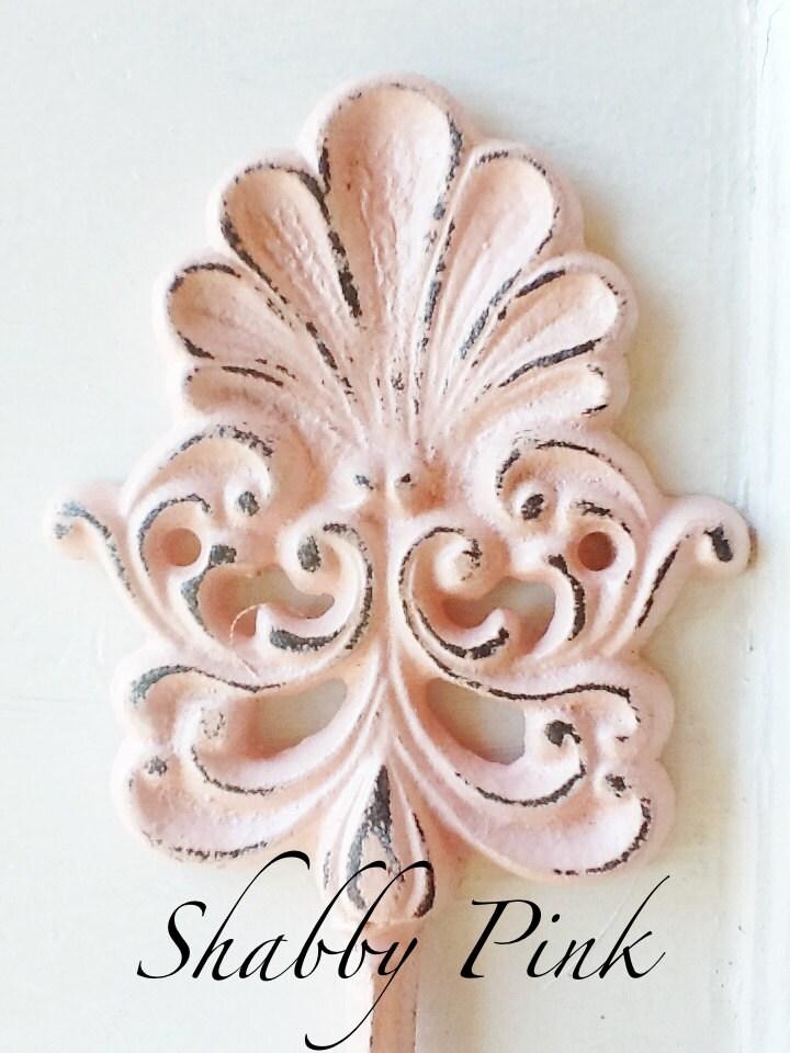 old world shabby pink wall hookscroll seashell cast