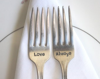 Wedding Forks, Cake Tasting Forks, Wedding Table Setting, Hand Stamped, Love Always, Ready to Ship