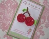 Girl hair clips - cherry hair clips - girl barrettes - summer hair clips
