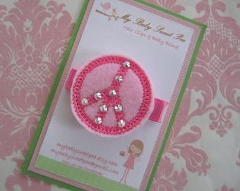 Girl hair clips - peace sign hair clips - girl barrettes - no slip clips