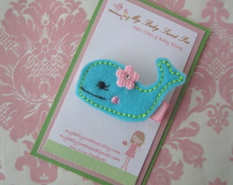 Girl hair clips - summer hair clips - whale hair clips - girl barrettes