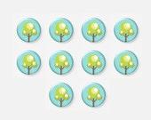 10 pcs, Kawaii Cabochon, Flower, Tree, Nature, Glass Cabs, Cabochon Lot, Glass Cabochon, 12mm Cabochon, Glass Dome, A38-11-199