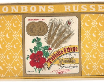 Bonbons Russes French Candy Vintage Label, 1920