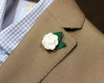 Petite boutonniere, mens lapel pin, button pin, flower lapel pin