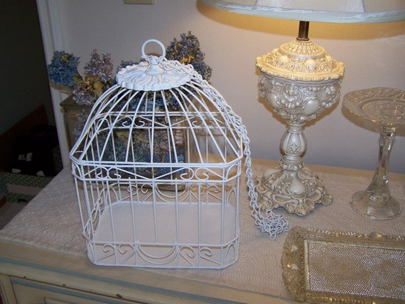 hanging wire bird cage romantic white outdoor wedding decor. Black Bedroom Furniture Sets. Home Design Ideas