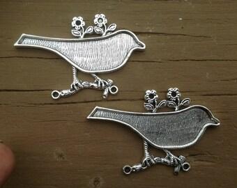 FOUR Silver-toned Bird Bezels