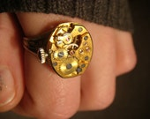 Steampunk  Bulova Watch Movement Ring with Exposed Gears (803)