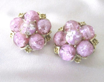 Pink Confetti Bead Earrings Signed Kramer, Mid Century Cluster Earrings, Clip On