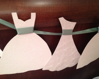 Wedding Dress Garland Paper Bridal Shower Decoration Sparkly White and Mint Green