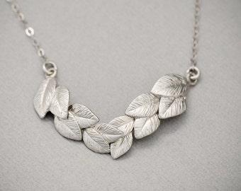 Grecian Jewelry, SILVER Leaf Necklace, Grecian Necklace, Silver Necklace, Silver Leaves, Bridal Jewelry, Grecian Jewelry, Wedding Jewelry