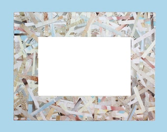Beige and Blue Recycled Magazine Frame - Eco Friendly Frame Made from Recycled Paper
