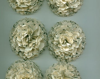 Dozen Sand Ivory Music Sheet Carnation Paper Flowers for Weddings, Bouquets, Events and Crafts