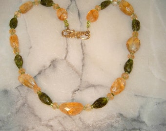 Chunky Citrine and peridot necklace,Mothers Day gift,November birthstone necklace,Chunky citrine necklace,chunky peridot nekclace.