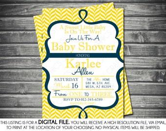 Gender Neutral Baby Shower Invitation - Chevron, Navy Blue, Yellow, Printable, Digital