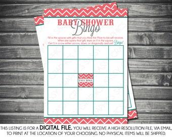 Modern Girl Baby Shower Bingo Card